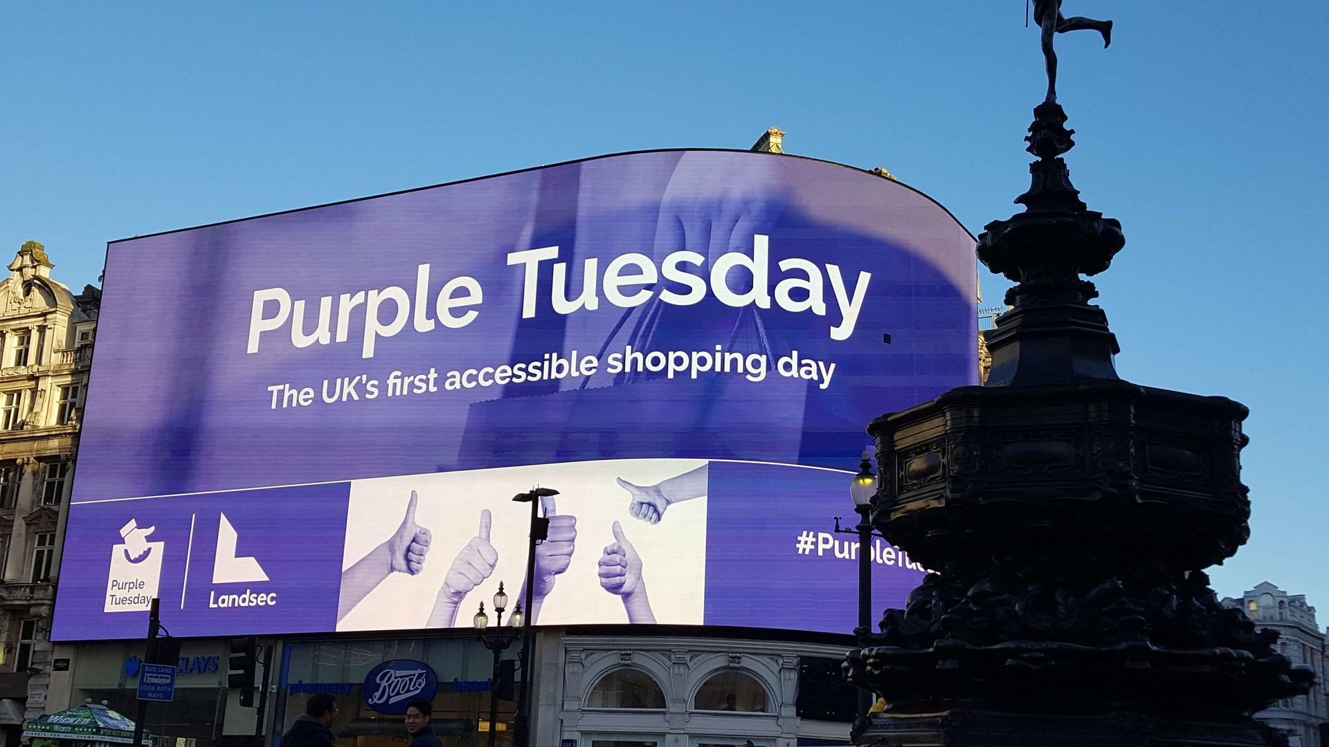 Purple Tuesday at Piccadilly Lights